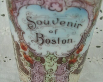 Antique Travel Souvenir Cup from Boston MA, Bunker Hill Monument, Old State House, Faneuil Hall, Made in Austria