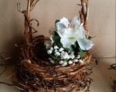 Flower Girl Basket Grapevine Basket for Flower Girl, Grapevine Wedding Basket, Rustic Wedding Grapevine Basket by colonialcrafts on Etsy