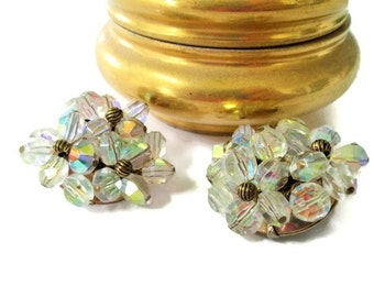Gorgeous Hattie Carnegie AB Crystal Clip On Earrings, Vintage Glitz Gold Tone, Signed