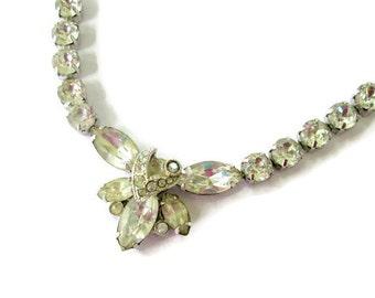 SALE Eisenberg Crystal Rhinestone Bridal Necklace, Signed Vintage Swarovski