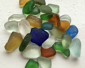 Sea glass: A rainbow mix of smooth sea glass chips, beautiful and colourful EQ
