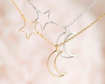 Crescent Moon Side Star Hoop Charm Necklace, Gold / Silver, Whimsical Jewelry, Bridesmaid Wedding, Bridal Sister Girlfriend Gift, ej