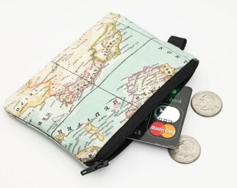 Coin purse, small zipper pouch, padded change purse  - vintage world map