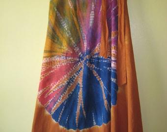 TIE DYE WRAP Skirt Long New With Tag/New Old Stock Art to Wear Hippie Boho Gypsy Festival Dead Head