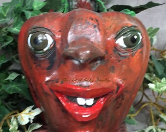 PAPER MACHE PUMPKIN - Painted and decorated paper mache pumpkin. Just a friendly face to brighten your day for Halloween and Thanksgiving.