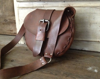 Rustic Brown Leather Purse Saddle Bag Satchel Crossbody Style