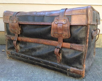 Steamer Trunk Rare 1800s French Brown Leather Black Canvas Wood Flat Top Antique Carriage Luggage Trunk