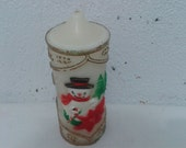 Vintage Antique Retro Sculpted Carved Christmas Candle Decor Snowman . Brand Rainbow-Lite U.K Design. Collectible antique item from the 1960