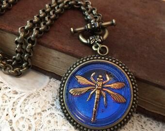 Dragonfly Czech Art Glass Button Necklace Breathtaking