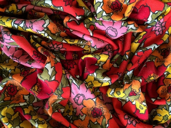 Super Groovy Vintage Flower Barkcloth Fabric By The Yard