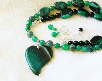 "Green, Brown Black Jade, Howlite and Agate Heart  24-26"" Necklace earring set with Sterling Silver lever back earrings"
