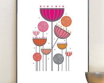 Abstract Floral Print, Seedheads and alliums, Pink flowers, retro Eames era, mid-century modern, Floral giclee art print