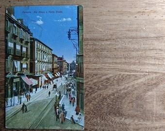 4 Antique Postcards, Catania 1921, Bologna 1924, Bratislava and Vienna 1924 - Antique Stamps, 1924 - Linen Finish Postcard