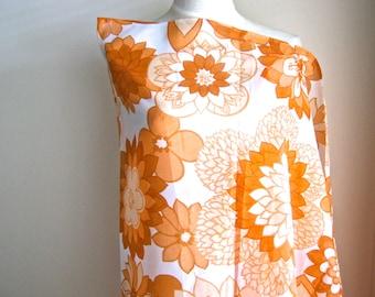 1960s Orange Floral Print Nylon, Original Vintage 1960s Dressmaking Fabric