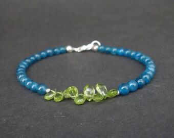 Natural Gemstone Peridot Faceted Teardrop Beads AA Grade, Gemstone Blue Apatite Denim Blue Round Bead  - 925 Sterling Silver Bracelet