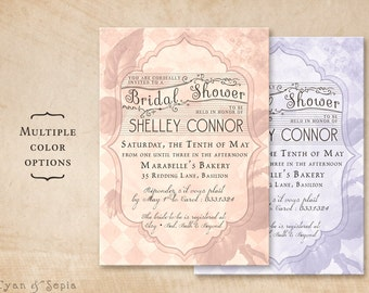 Printable 5x7 Bridal Wedding Shower Invitation - French Rose - Vintage Cottage Victorian Floral Personalized - Pink Blush Purple Lavender