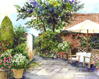 Signed Artwork Print, ACEO, ATC of Terrace of The Manor House - Watercolour Painting