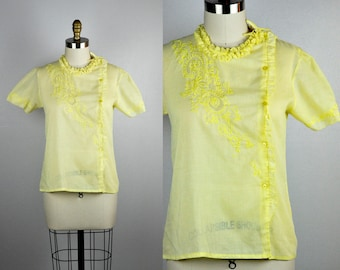70s Embroidered Blouse Side Button Canary Yellow Ruffled Round Neck OOAK Sheer Summer Festival Beach Boho size S - M