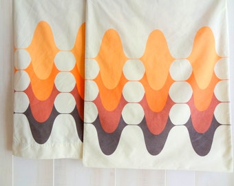 Retro Modern 1970's Pillowcases-Pair, Beige, Orange & Brown