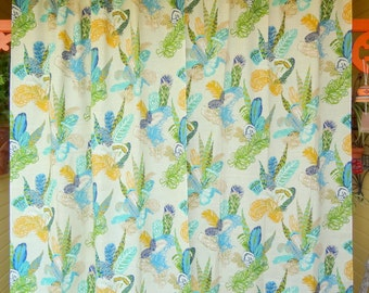 Feather Print Curtain Panels, 1960s  Blues/Greens/Yellows
