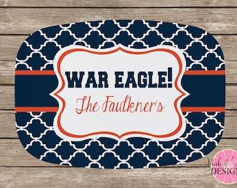 Design Your Own Personalized Melamine Platter, Monogrammed Platter, Tailgate, Wedding Gift,  Housewarming Gift, Auburn Tigers, War Eagle