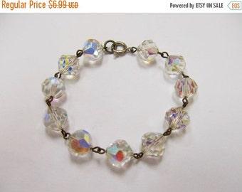 ON SALE Vintage Aurora Borealis Crystal Bracelet Item K # 33