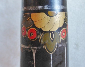 Black painted wooden candlestick with Art Deco floral handpainted design