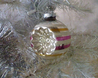 Ornament for a Vintage Tree, Holiday Tree Ornament, Hand Painted 1960's, Star or Flower Imprint in Bulb