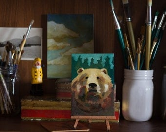 The Bear   Original Oil Painting   4 x 6