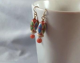 Dr. Who inspired earrings, neutral color earrings, jelly baby inspired, wood earrings, handpainted earrings, beaded earrings