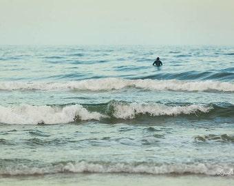 Surfer Photo, Ocean, Surfing, Waves, Shore Decor Jersey Shore, seaside, seascape
