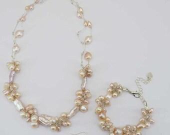 Pink freshwater pearl set of Necklace,bracelet,earring.