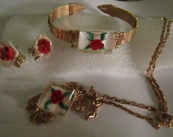 Vintage Reversed Carved Lucite Roses Wire Wrapped Necklace Bracelet and Earring Parure