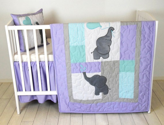Purple And Teal Crib Bedding Baby Quilt Elephant Blanket Teal Purple Gray Crib Bedding