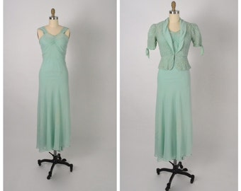 Vintage 1930s 30s Dress with Jacket and Slip Silk Crepe Georgette