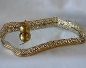 Vintage  Mirror Vanity Tray Gold-Tones Art Nouveau Style Hollywood Regency Filigree Rare Shape High Sided