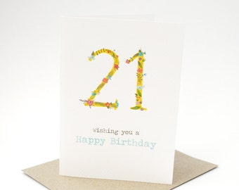 Birthday Card Female - 21 Floral Number - HBF132- Wishing you a Happy Birthday