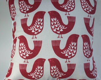 "Cushion Cover in Vintage Red Scandi Birds 14"" 16"" 18"" 20"""