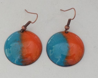 Enameled Earrings Round Copper Thompson Enamels Blue Orange Turquoise Pierced Copper Ear Wires Domed