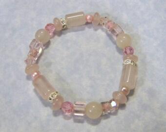 Shades of Pink Gemstone, Crystal, Glass and Rhinestone Stretch Bracelet