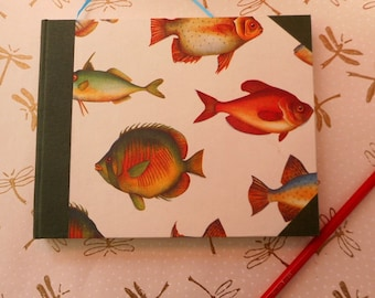 "Handmade blank book with fish: ""Gone Fishing"" - Journal, diary, writing, notes, memories."