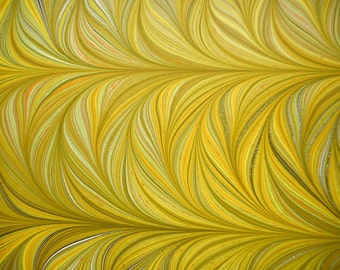 """Hand-Marbled Paper - Yellows, golds, greens, browns: """"Yellow Grasses"""". Book endpapers, paper art, gift wrap"""