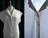 White shirt sleeveless, embroidery, Vintage 1950's