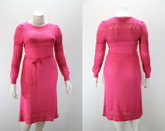 Large Vintage Sweater Dress - 1970s Hot Pink Knitted Sweater Dress