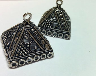 Oxidized silver  large jhumkas or Indian hanging earring bases x 2, 25mm, free combined shipping