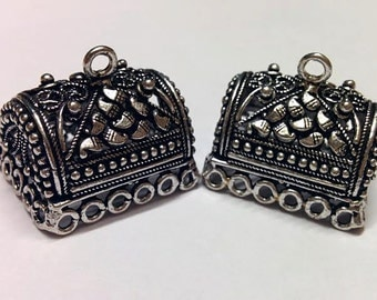 Oxidized silver  large jhumkas or Indian hanging earring bases x 2, 27mm, free combined shipping