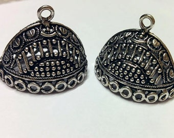 Oxidized silver  large jhumkas or Indian hanging earring bases x 2, 24mm, free combined shipping