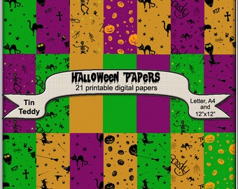 Halloween Digital Papers - 21 Spooky Backgrounds for Crafting Projects, Scrapbooking paper - Instant Download