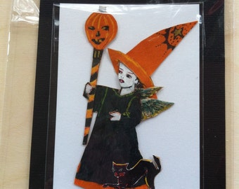 SALE- Kitty Halloween Witch: an original handmade embellished dimensional diecut, OOAK re-purposed  authentic Victorian scrap,vintage paper