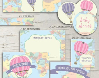 Hot Air Balloon Baby Shower Party Pack - Oh the Places She'll Go!